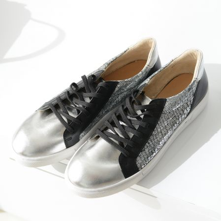BLACK AND SILVER SNEAKERS