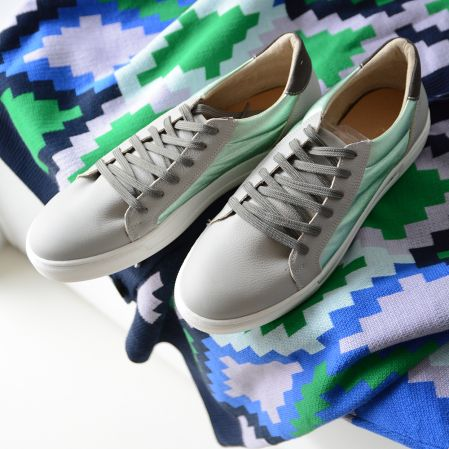 GREY AND MINT SNEAKERS